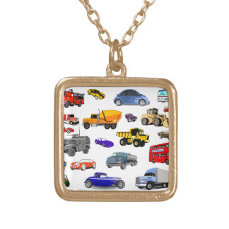 car truck firetruck bulldozer bus race cars more gold plated necklace