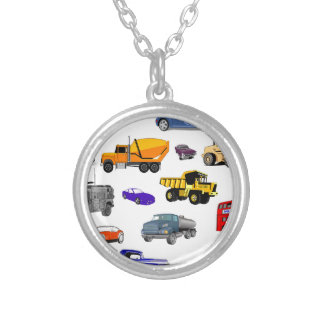 car truck firetruck bulldozer bus race cars more silver plated necklace