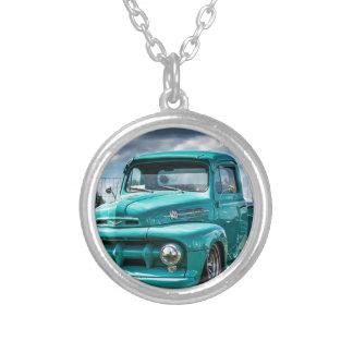 Car Vehicle Auto Automobile Transportation Silver Plated Necklace