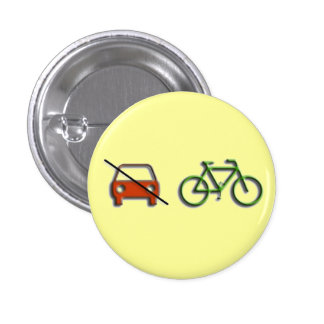 Car vs. bicycle 1 inch round button