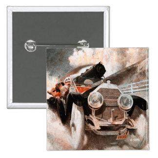 Car vs Train by William Harnden Foster 2 Inch Square Button