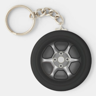 Car Wheel Basic Round Button Keychain