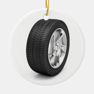 Car wheel ceramic ornament