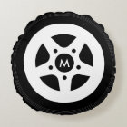 Car wheel throw pillow with black tires and rims