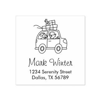 Car with a Man and a Dog Address Rubber Stamp