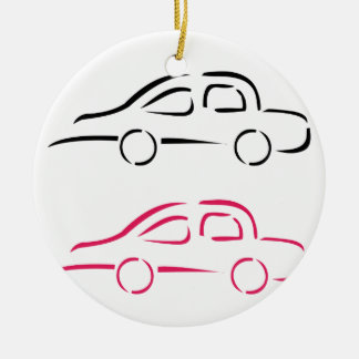 Car with abstract lines ceramic ornament
