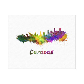 Caracas skyline in watercolor canvas print