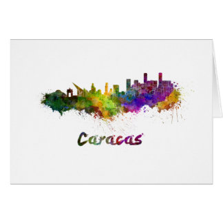 Caracas skyline in watercolor card