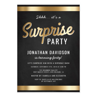 Caramel Gold and Black Surprise Birthday Party Magnetic Card