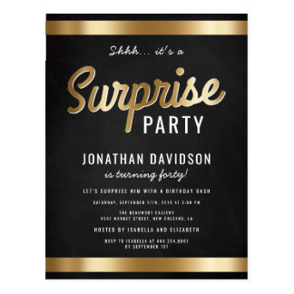 Caramel Gold and Black Surprise Birthday Party Postcard