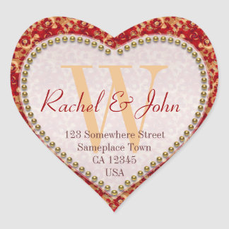 Caramel Rust Pattern Monogrammed Heart Wedding Heart Sticker
