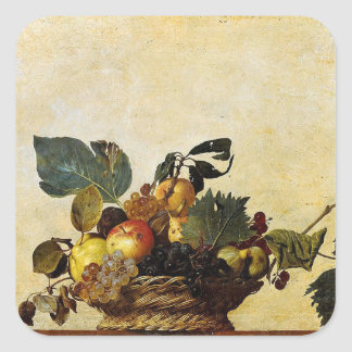 Caravaggio - Basket of Fruit - Classic Artwork Square Sticker