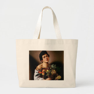 Caravaggio - Boy with a Basket of Fruit Artwork Large Tote Bag