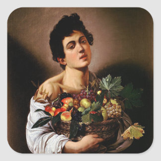 Caravaggio - Boy with a Basket of Fruit Artwork Square Sticker