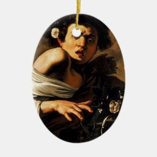 Caravaggio Lizard Boy Ceramic Oval Ornament