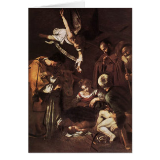 Caravaggio -Nativity with St Francis & St Lawrence Card