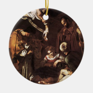 Caravaggio -Nativity with St Francis & St Lawrence Ceramic Ornament
