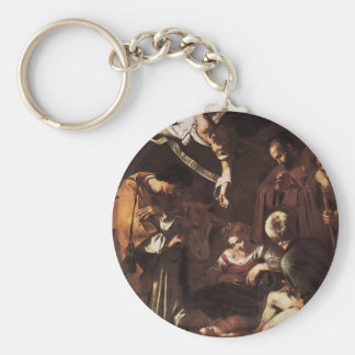 Caravaggio -Nativity with St Francis & St Lawrence Keychain