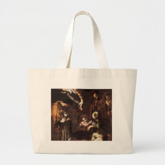 Caravaggio -Nativity with St Francis & St Lawrence Large Tote Bag