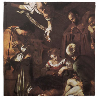 Caravaggio -Nativity with St Francis & St Lawrence Napkin
