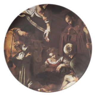 Caravaggio -Nativity with St Francis & St Lawrence Plate