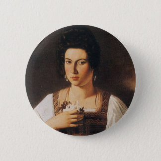Caravaggio - Portrait of a Courtesan Painting 2 Inch Round Button