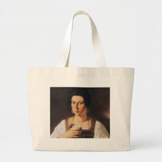 Caravaggio - Portrait of a Courtesan Painting Large Tote Bag