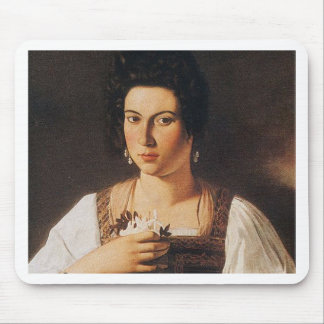 Caravaggio - Portrait of a Courtesan Painting Mouse Pad