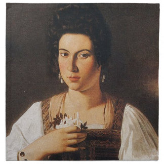 Caravaggio - Portrait of a Courtesan Painting Napkin