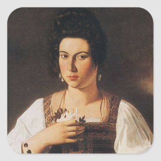 Caravaggio - Portrait of a Courtesan Painting Square Sticker