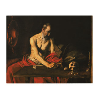 Caravaggio - Saint Jerome Writing Wood Print