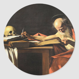 Caravaggio - San Gerolamo - Renaissance Painting Classic Round Sticker
