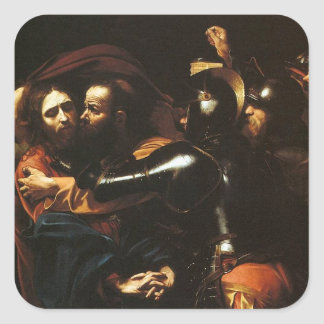 Caravaggio - Taking of Christ - Classic Artwork Square Sticker