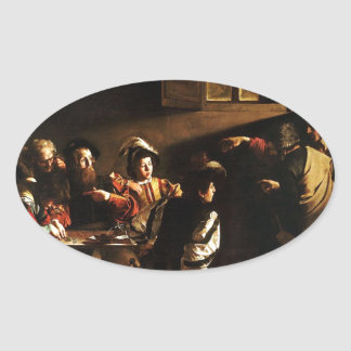 Caravaggio - The Calling of Saint Matthew Oval Sticker