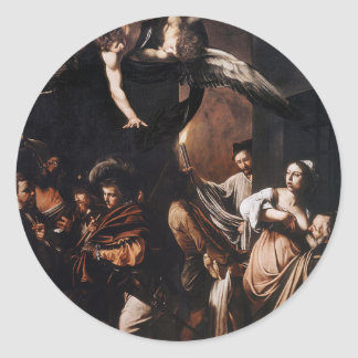 Caravaggio - The seven Works of Mercy Painting Classic Round Sticker