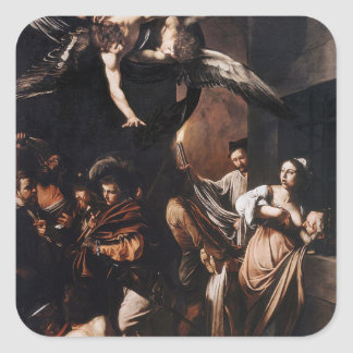 Caravaggio - The seven Works of Mercy Painting Square Sticker