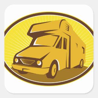 Caravane résidentielle de camping-car rétro sticker carré