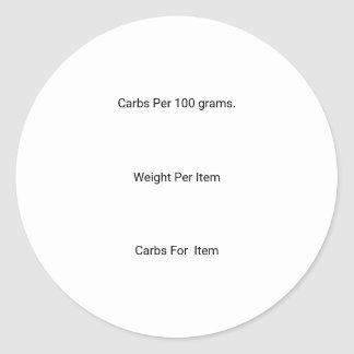 Carb Counting Stickers, Classic Round Sticker
