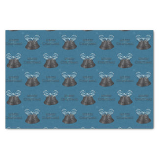 Carbon Bells & Blue Bow Merry Christmas Tissue Paper