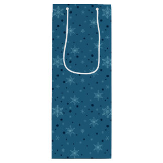 Carbon Bells & Blue Bow Snowflakes Wine Gift Bag