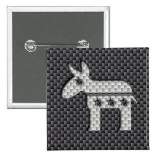 Carbon Fiber Donkey Democratic Party Symbol 2 Inch Square Button