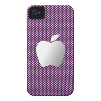 Carbon Fiber iPhone 4/4S Case (Purple with Apple)