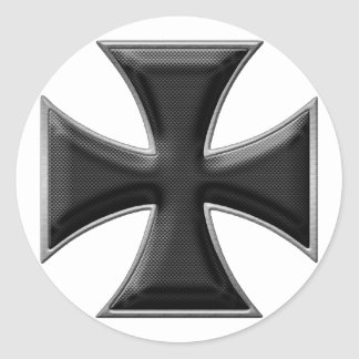 Carbon Fiber Iron Cross - Black Classic Round Sticker