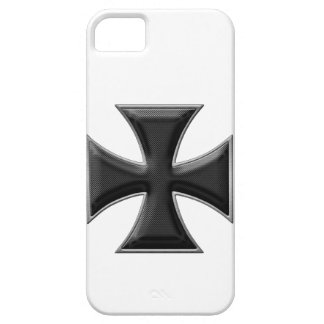 Carbon Fiber Iron Cross - Black iPhone 5 Cases