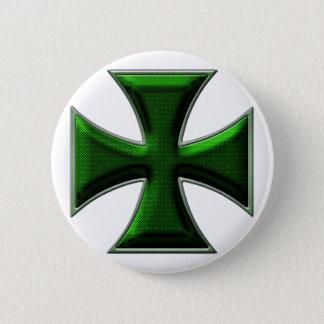 Carbon Fiber Iron Cross - Green 2 Inch Round Button