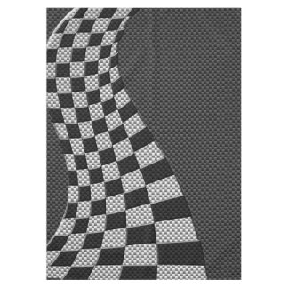 Carbon Fiber Like Racing Flag Wave Print Tablecloth