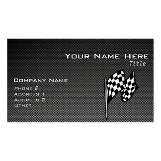 Carbon Fiber look Checkered Flag Double-Sided Standard Business Cards (Pack Of 100)