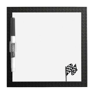 Carbon Fiber look Checkered Flag Dry Erase Boards