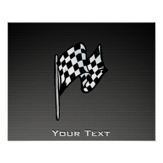 Carbon Fiber look Checkered Flag Poster