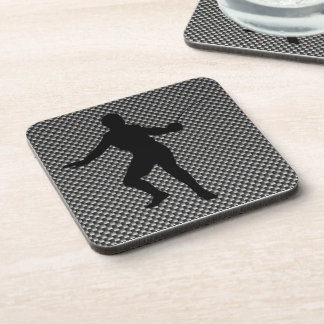 Carbon Fiber look Fencing Silhouette Beverage Coasters